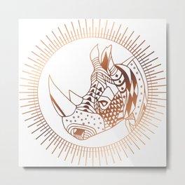Copper Rhino Metal Print