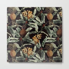 Vintage & Shabby Chic - Midnight Tropical Fruit Garden Metal Print