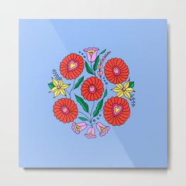 Hungarian embroidery inspired pattern blue Metal Print