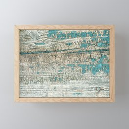 Rustic Wood Turquoise Weathered Paint Wood Grain Framed Mini Art Print