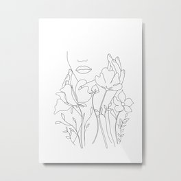 Minimal Line Art Summer Bouquet Metal Print