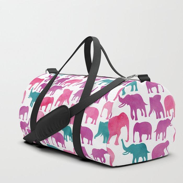 Watercolor Elephant Stampede Pretty Pattern Duffle Bag