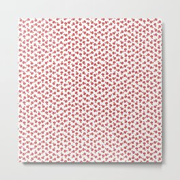 Forget Me Nots - Red on White Metal Print