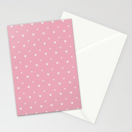Small sketchy white hearts pattern on pink background Stationery Cards