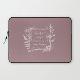 Cast Your Anxiety Wildflower Frame Bible Verse Laptop Sleeve