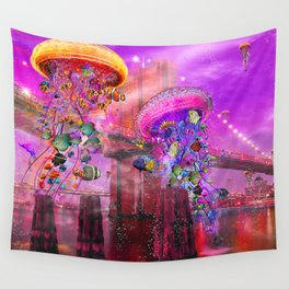 Electric Jellyfish at the Brooklyn Bridge Wall Tapestry