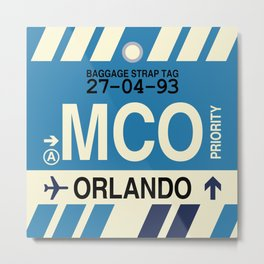 MCO Orlando • Airport Code and Vintage Baggage Tag Design Metal Print