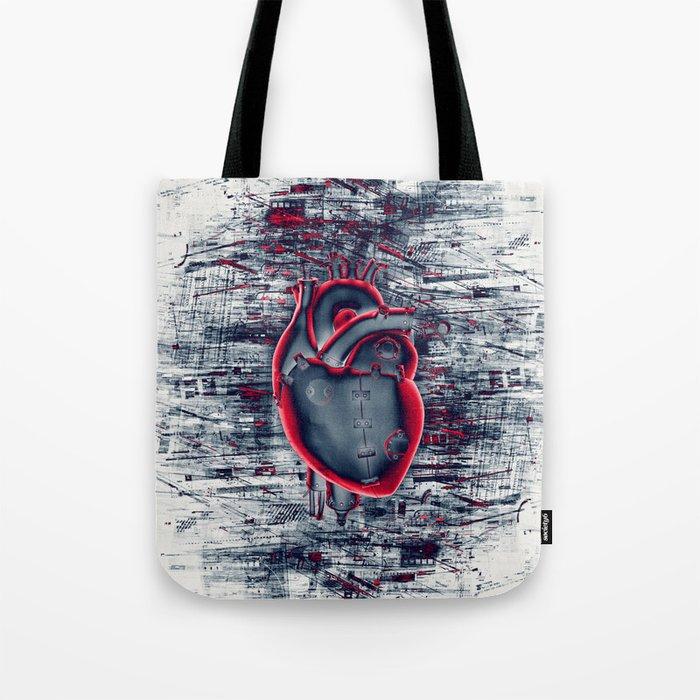 Gamer Heart BLUE CRIMSON / 3D render of mechanical heart Tote Bag
