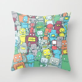 Robot Party Throw Pillow
