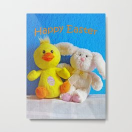 Happy Easter Chick + Bunny Metal Print