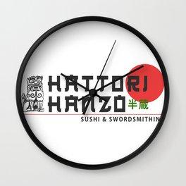 Hattori Hanzo, Sushi & Swordsmithing, est. 1945, Original Artwork for Wall Art, Prints, Posters, Tshirts, Men, Women, Kids Wall Clock
