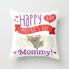 Happy Mothers Day Message Mom Grandma Koala Gift Throw Pillow