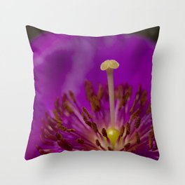 A Macro Image of a Purslane Flower Pistil, Stamen and Petals Throw Pillow