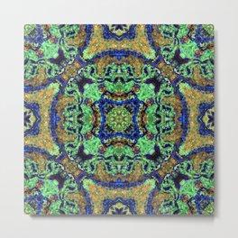 Malachite and Azurite with a geometric kaleidoscopic design Metal Print