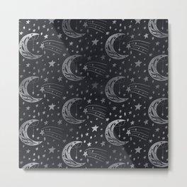Black & Silver Moon & Stars  Metal Print