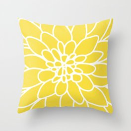 Modern Yellow Dahlia Flower Deko-Kissen