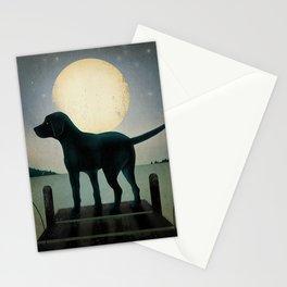 Black Dog Labrador Lake Dock Moon Cottage Cabin Stationery Cards