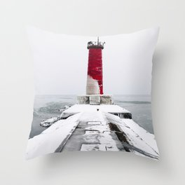 The Red Lighthouse Throw Pillow
