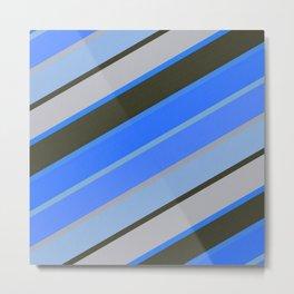 Electric Blue and Gray Diagonal Stripes Metal Print
