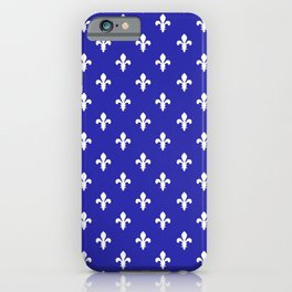 Fleur-de-Lis (White & Navy Blue Pattern) iPhone Case