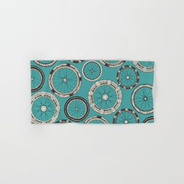 bike wheels turquoise Hand & Bath Towel