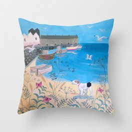 Dog by the Sea Throw Pillow