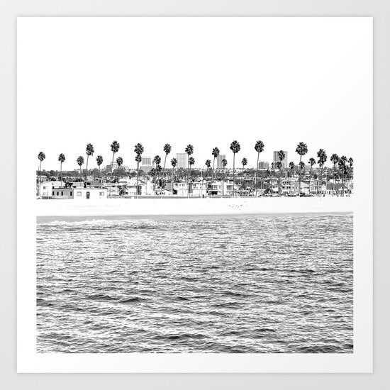 Vintage Newport Beach Print {4 of 4} | Photography Ocean Palm Trees B&W Tropical Summer Sky by palmtreeprints