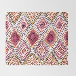 Warm Color Moroccan Rug Beautiful Embroidered Traditional Pattern Watercolor Painting Kilim Tapestry Throw Blanket
