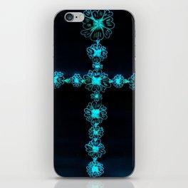 Teal Cross iPhone Skin