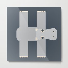 Letter H // Animal Alphabet // Hippo Monogram Metal Print