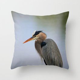 Heron in the Slough II Throw Pillow