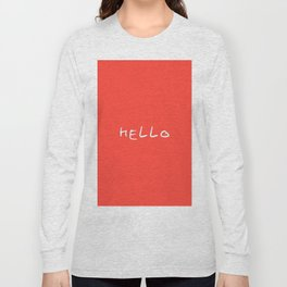 hello 2-coral Long Sleeve T-shirt