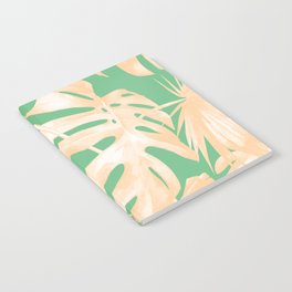 Tropical Palm Leaves on Vivid Pastel Green Notebook
