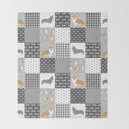 Corgi Patchwork Print - grey, dog, buffalo plaid, plaid, mens corgi dog Throw Blanket