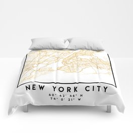 NEW YORK CITY NEW YORK CITY STREET MAP ART Comforters