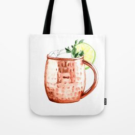 Cocktails. Moscow Mule. Watercolor Painting. Tote Bag
