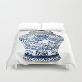Blue & White Chinoiserie Cranes Porcelain Ginger Jar Duvet Cover