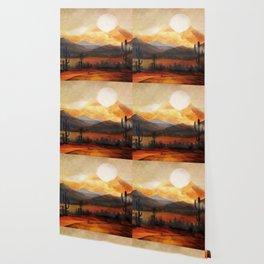 Desert in the Golden Sun Glow Wallpaper