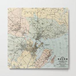Vintage Map of Salem, Massachusetts Metal Print