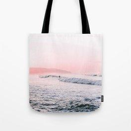Ocean, Surfer, Pink Sunset, Beach Wall Art Tote Bag