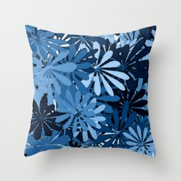 In The Tropics SKY BLUE - navy blue - and mid blue in a graphic display of color Throw Pillow