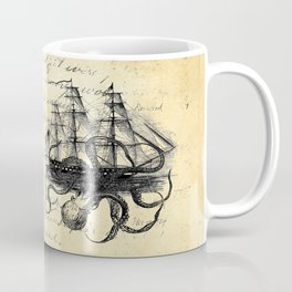 Kraken Octopus Attacking Ship Multi Collage Background Coffee Mug