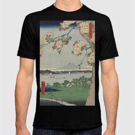 Cherry Blossoms on Spring River Ukiyo-e Japanese Art T-shirt