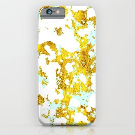 Elegant Marble and Gold Textures With Blue Splashes iPhone Case