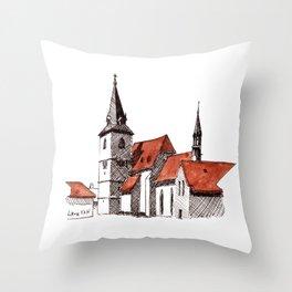 A Calm Czech Village Colored in Sienna Throw Pillow
