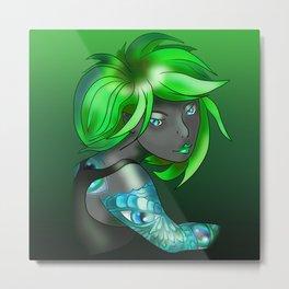 Dark elf in shades of green Metal Print