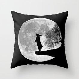 Moon Bunny - Black & White Throw Pillow