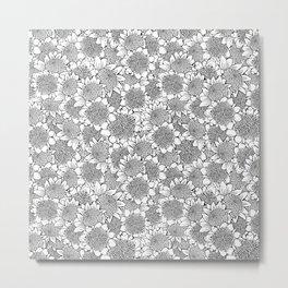 Hand-drawn Black and White Waratah Metal Print