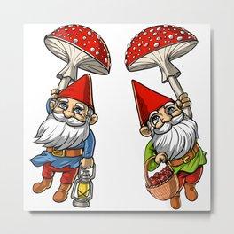 Magic Mushrooms Gnomes Trip Metal Print