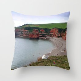 Ladram Bay Jurassic Coast Devon Throw Pillow